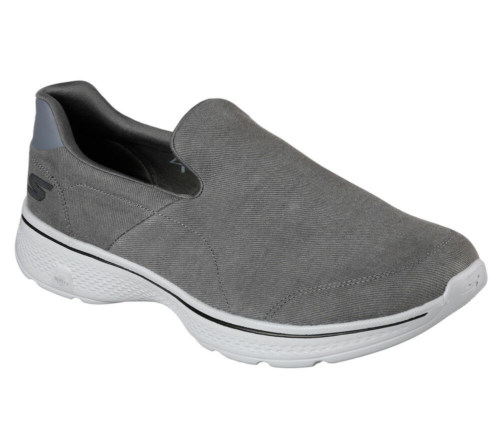 NEW SKECHERS Men Fitness Sneakers Trainers Workout Shoes GO WALK 4 Grey