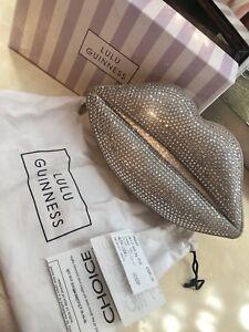Bag Embellished Guinness Designer Lulu Lips Silver Crystal Clutch Swarvoski rxdoWBeC