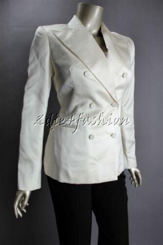 $1998 New Ralph Lauren Black Label Ivory Satin Silk Double Breasted Jacket 6 by Ralph Lauren
