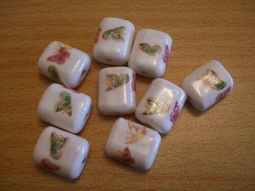 BUTTERFLY printed pillow ceramic porcelain focal beads 16mm x10 UK seller  C217