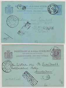 NETHERLANDS SURINAM 1900-01 PS CARDS H&G 8 & 12a ENTIRES PER DUTCH PACKET++