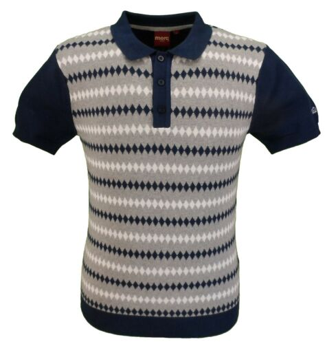 merc Mens Farley Navy Knitted Polo Shirts