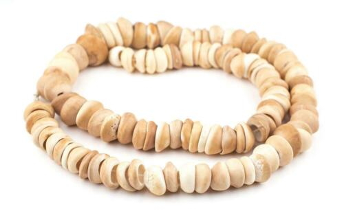 Natural West African Shell Beads Honey 18mm Ghana Brown Unusual Large Hole