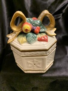 FITZ & FLOYD Lidded Ceramic Candy- Excellent Condition