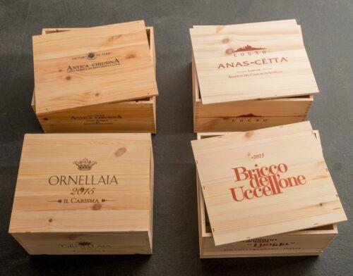 """Set aus 4 Original 6er Weinkisten Holzkisten /""""Raritäten II/"""" ohne Flaschen"""
