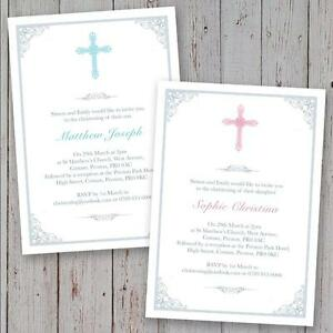Personalised christening invitations baptism invites boy girl image is loading personalised christening invitations baptism invites boy girl crucifix stopboris Image collections