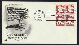 #1946 'C' Eagle-Block De 4 , Art Craft FDC Cualquier 4=