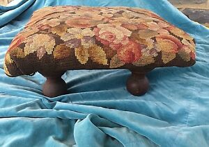 Antique-Footstool-Brown-Floral-amp-Birds-Wood-Needlepoint-amp-Wood-Legs