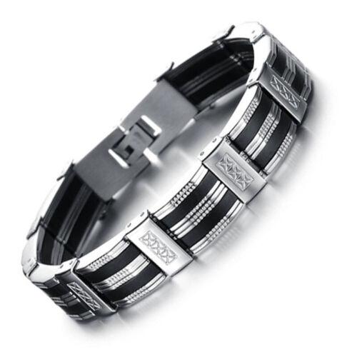 Armband Edelstahl Kürzbar Herren Luxus Armreif Armkette Schwarz Silber 21cm BJ*