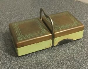 Vintage-1930-s-Art-Deco-Brass-W-Wood-Lined-Cigarette-Box-Holder-Brass-Green