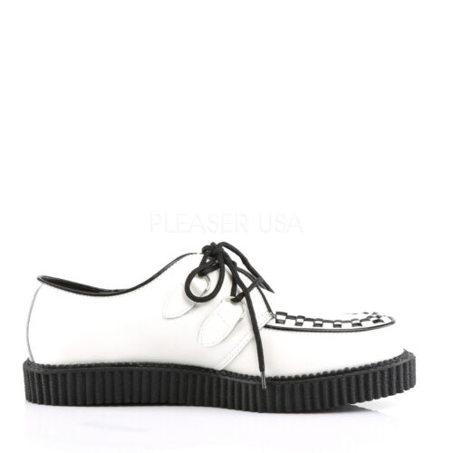Gothic Low Men's Demonia White Rockabilly 602 Leather Sole Shoes Punk Creeper 5x5wrZYqAz