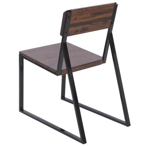 2x Chaise de salle à manger hwc-a88 fauteuil ulmenholz métal conception industrielle
