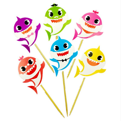 Pack of 12 Precut Baby Shark /& Family Cupcake Toppers Edible Cake Decorations Girls Childrens Party Kids Boys Birthday