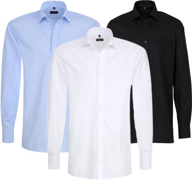 ETERNA Herren Hemd Slim & Comfort & Modern Fit bügelfrei weiß blau & schwarz