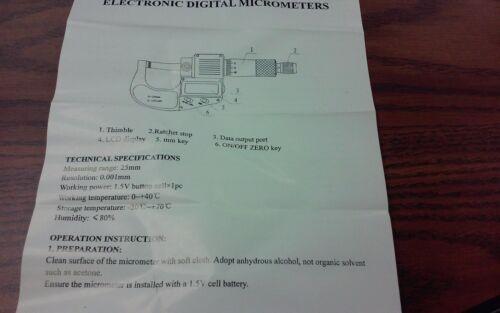 "0-25mm Electronic Digital Micrometer--new 0-1/"""