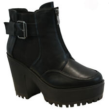 65a13c6754b0c item 4 WOMENS LADIES CHUNKY PLATFORM CHELSEA BIKER ANKLE BOOTS CLEATED HIGH  HEEL SHOES -WOMENS LADIES CHUNKY PLATFORM CHELSEA BIKER ANKLE BOOTS CLEATED  HIGH ...