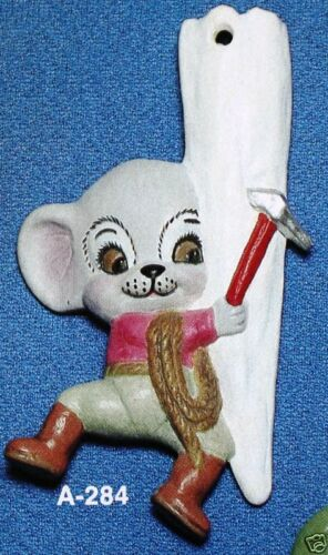 Ceramic Bisque Christmas Ornament Mouse on Icicle Alberta Mold 284 U-Paint