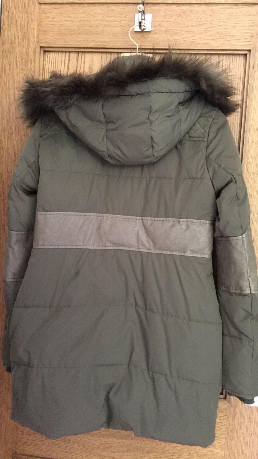 Supertrash khaki Onyx faux faux faux fur hooded parka coat size 40 d3eb00
