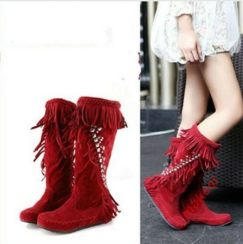 New Womens fashion Tassels Mid Calf Boot Rhinestones Bling Casual Winter shoes