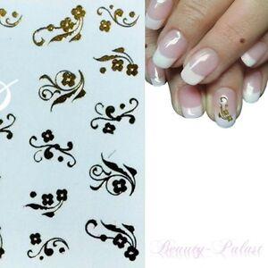 Details Zu Wasser Transfer Nagel Sticker Nailart Tattoo Aufkleber One Stroke Design Gold146