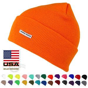 Mororock-Cuff-Beanie-Hat-Men-Women-Acrylic-Plain-Knit-Ski-Cap