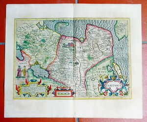 Complete Map Of Asia.1609 Mercator Hondius Antique Map Of Central Asia Siberia China