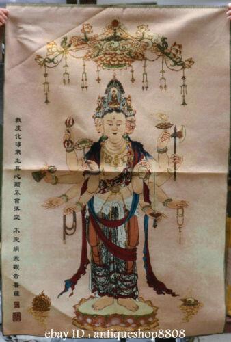 "36/"" Tibet Silk Satin 1000 Arms Avalokiteshvara of Goddess Thangka Painting Mural"