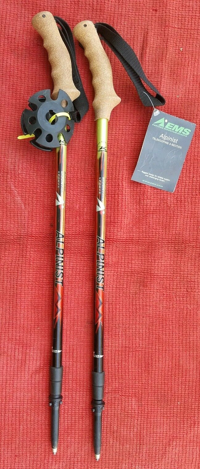 New  EMS Alpinist Poles Telescoping 3-Section Cork Handle Eastern Mountain Sport