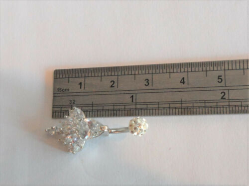 Surgical Steel VCH Clit Hood Curved Barbell Clear Fire Crystal 14 gauge 14g