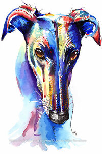 Greyhound-Whippet-Lurcher-art-print-gifts-gift-painting-poster-Mounting-Options