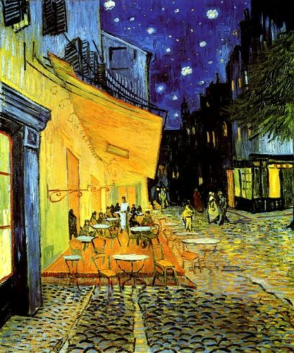 CAFE TERRACE AT NIGHT STARS PARIS 1888 IMPRESSIONIST PAINTING BY VAN GOGH REPRO