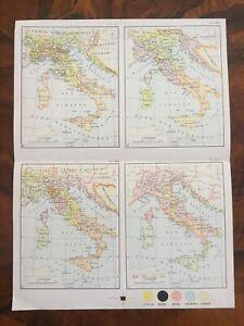 Cartina Italia 1810.Tavola Geografica Evoluzione Italia Ix Secolo 1559 1810 1848 1 10000000 Ebay