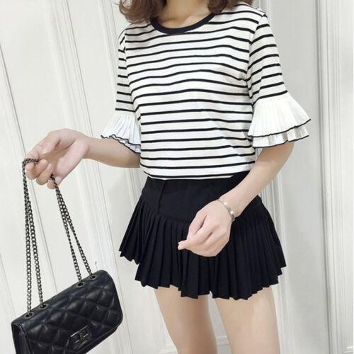 Korean Fashion Striped Women//Girl Casual Short Sleeve T-shirt Loose Blouse Tops