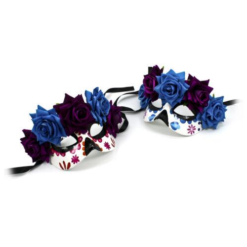 Women/'s Day of the Dead Black Blue Flower Roses Sugar Skull Costume Eye Mask