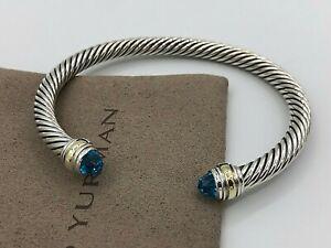 DAVID YURMAN Women/'s Cable Classics Bracelet Blue Topaz /& 14K Gold 5mm $625 NEW