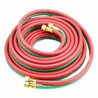 Twin Dual Line Oxy Acetylene Welding Torch Hose 25ft 1/4 300psi Brass Fitting on sale