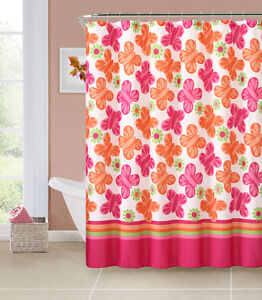 wind song orange hot pink green butterflies girls printed shower curtain ebay. Black Bedroom Furniture Sets. Home Design Ideas