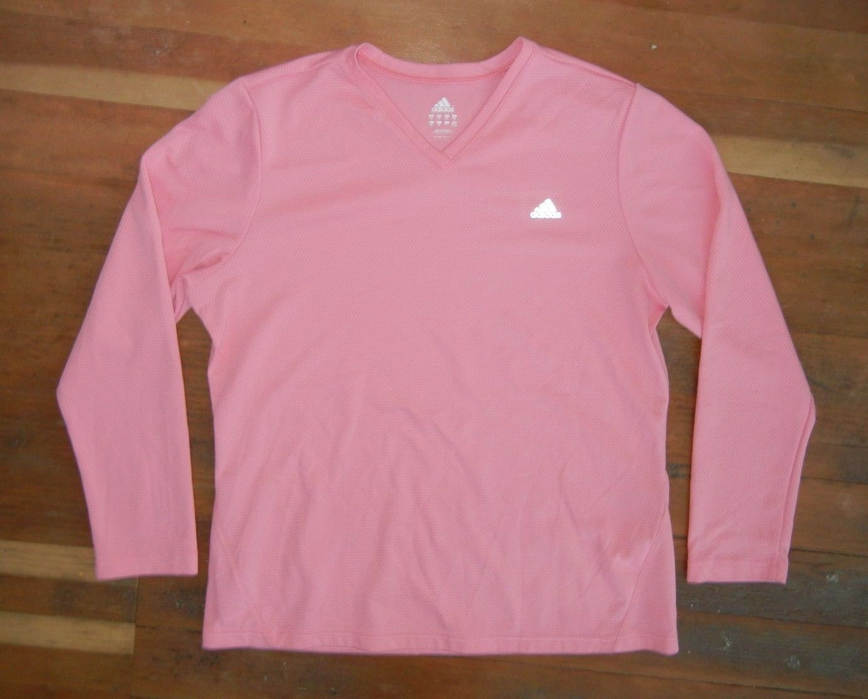 ADIDAS Poliéster rosa brillante CAMISETA MANGA LARGA Gym Running Track Sz Womens XXL