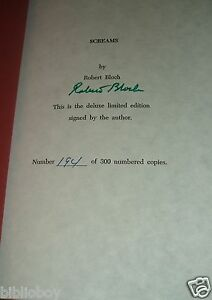 1989-Signed-limited-Edition-of-Screams-by-Robert-Bloch-As-New-Collected-Novels