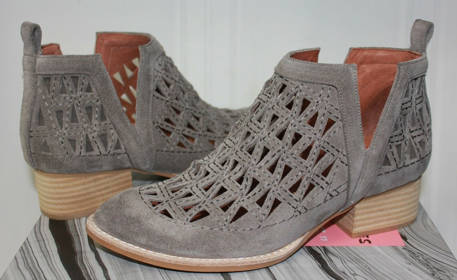 Jeffrey Campbell Saget Split Shaft cut out Stiefelies Taupe Suede NEW