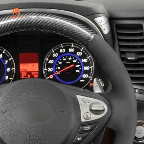 Suede PU Carbon Fiber Steering Wheel Cover for Infiniti FX35 FX37 Nissan Juke