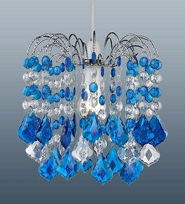 DARK BLUE ACRYLIC CRYSTAL PEAR DROPS CHANDELIER CEILING LIGHT PENDANT SHADE