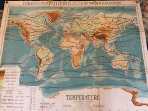 Old School Map Of World Relations Temperature Circa 1940/50 | eBay