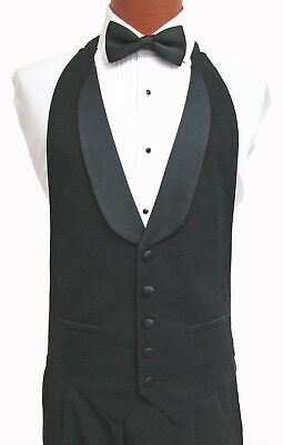 New Black Open Back Tuxedo Vest /& Bow Tie Set Wedding Prom Formal Mason Costume