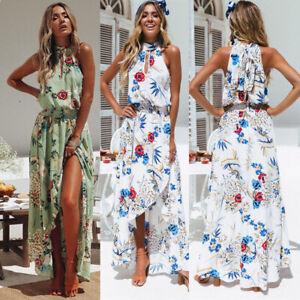 10abec8924c7a Details about Maxi Long Dress Women Holiday Halter Neck Asymmetric Summer  Boho Beach Sundress
