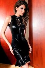Wetlook Lace up Keyhole Flared Dress Sexy Dominatrix Clubwear Bostcon Faux Latex