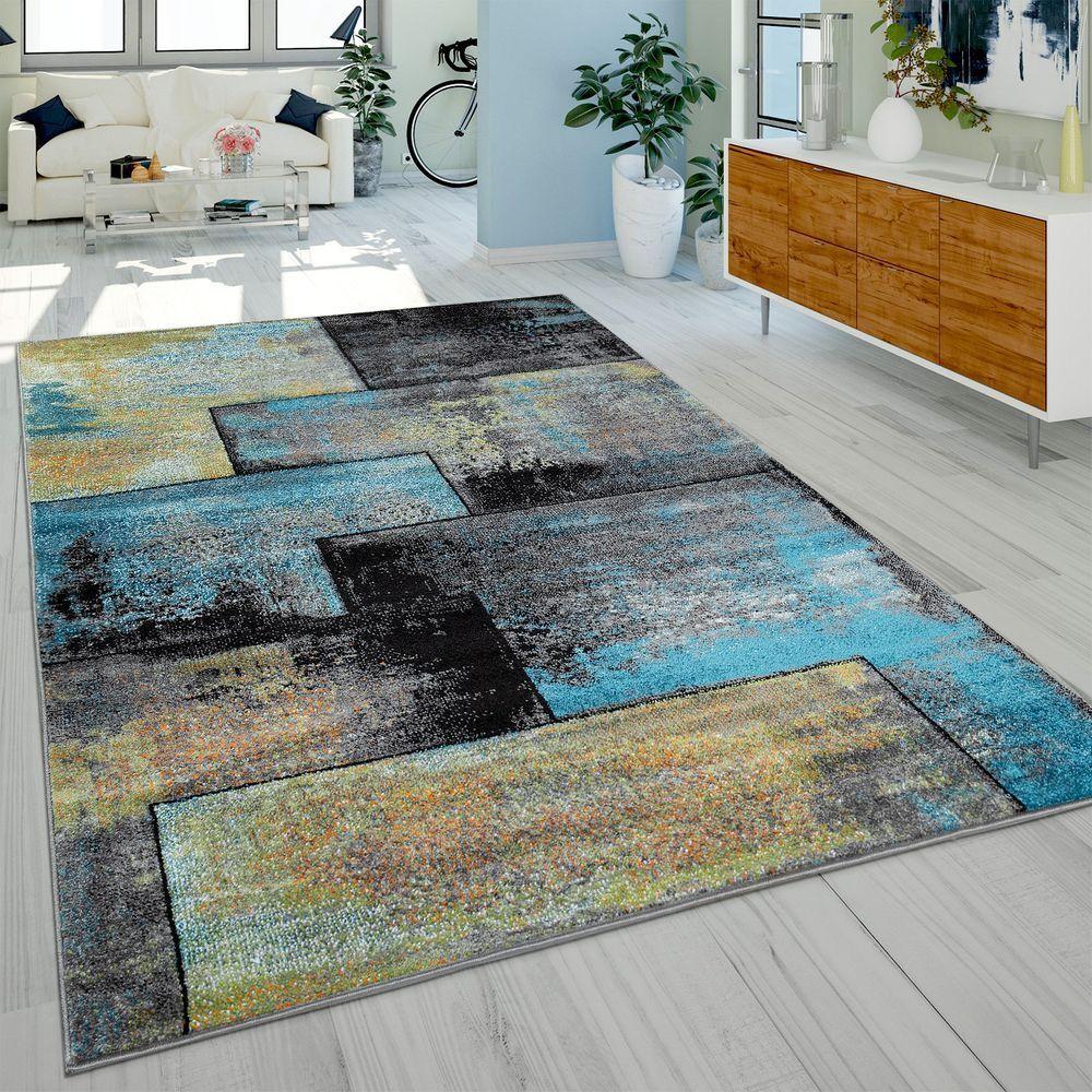 Designer Rug Modern Living Room Oil Painting Varied Schwarz Schwarz
