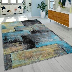 Createur-Tapis-Moderne-Salon-Peinture-A-L-Huile-Varie-Noir-Jaune-Bleu