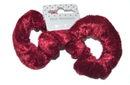NEW Back to school Pair small burgundy red velvet fabric scrunchies hair bobbles