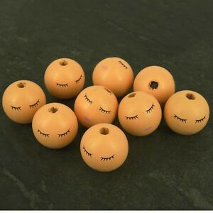 Details About Sleeping Wooden Angel Doll Head Beads 27 Mm Faces 10 Pack W10